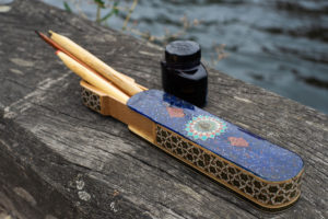 Calligraphic Pen box and Ink pot